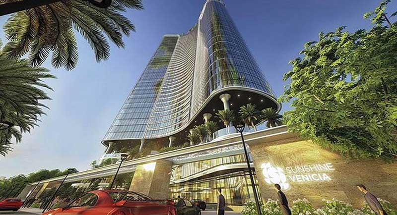 Tòa tháp dự án căn hộ Sunshine Venicia nhìn từ dưới lên  vô cùng đẳng cấp